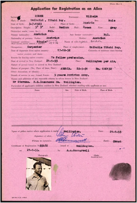 Huber's application for registration as an alien, submitted to New Zealand Police in early 1953
