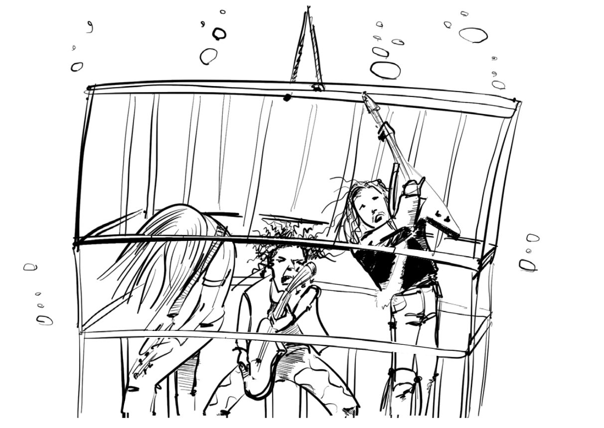 illustration of heavy metal musicians playing in a shark cage.