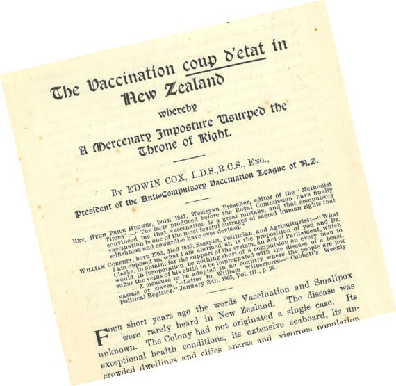 """An anti-vaccination pamphlet of 1904 alleged a """"Vaccination coup d'etat""""."""